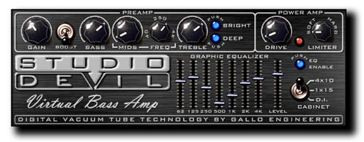 Studio Devil Virtual Bass Amp csöves basszusgitár erősítő modellező plugin